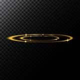 Dirigez l'illustration abstraite de l'des effets de la lumière sous forme de les cercles d'or illustration de vecteur