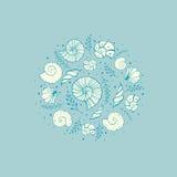 Dirigez l'illustration avec des ammonites et des coquilles de mer dans le style de croquis Photo stock