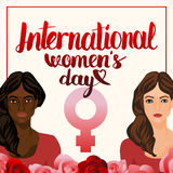 Dirigez l'illustration avec des femmes et la calligraphie de lettrage de main Image stock