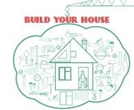 Dirigez l'illustration avec des icônes de Web de bâtiment autour de la maison mignonne Image stock