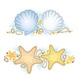Dirigez l'illustration avec l'étoile pointillée d'étoiles de mer ou de mer et la coquille de mer ou la crantez et des cailloux d' illustration stock