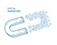 Dirigez l'illustration avec l'icône bleue dans la ligne style plate Concept de construction pour le marketing numérique, campagne Image libre de droits