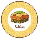 Dirigez l'illustration avec la baklava de dessert dans le cadre de cercle avec l'ornement floral Images libres de droits