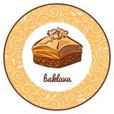 Dirigez l'illustration avec la baklava turque célèbre de dessert avec la noix Images stock