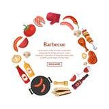 Dirigez l'illustration avec la cuisson de barbecue, de gril ou de bifteck illustration libre de droits