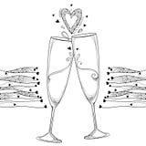 Dirigez l'illustration avec la découpe deux grillant le verre de champagne et le coeur fleuri dans le noir d'isolement sur le fon illustration stock