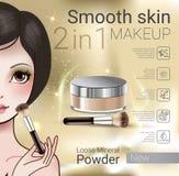 Dirigez l'illustration avec la fille de style de Manga et la poudre lâche de maquillage illustration de vecteur