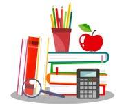 Dirigez l'illustration avec la pile des livres, des crayons, de la pomme, de la loupe et de la calculatrice illustration libre de droits
