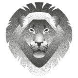 Dirigez l'illustration avec le pointillage de la tête du lion Image libre de droits