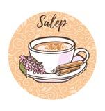 Dirigez l'illustration avec le salep chaud turc traditionnel de boisson dans un cadre de cercle Photo stock