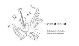 Dirigez l'illustration avec le saxophone, le violon, la trompette et le tambour illustration stock