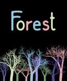 Dirigez l'illustration avec les arbres colorés sur un fond noir illustration stock