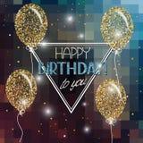 Dirigez l'illustration avec les ballons à air abstraits avec des étoiles et des souhaits de joyeux anniversaire Photo stock