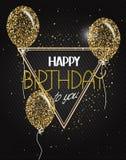 Dirigez l'illustration avec les ballons à air abstraits d'or avec des étoiles et des souhaits de joyeux anniversaire Image libre de droits