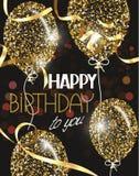 Dirigez l'illustration avec les ballons à air abstraits d'or avec des étoiles et des souhaits de joyeux anniversaire Photos stock