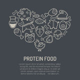 Dirigez l'illustration avec les icônes décrites de nourriture formant une forme de coeur Image libre de droits