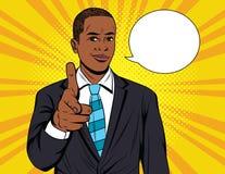 Dirigez l'illustration colorée d'art de bruit de l'homme d'affaires se dirigeant sur vous Image libre de droits
