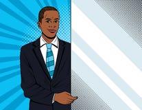 Dirigez l'illustration colorée de style d'art de bruit d'un homme d'affaires tenant une bannière blanche Photos libres de droits