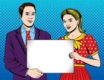 Dirigez l'illustration colorée de style d'art de bruit d'un jeune beau couple tenant une feuille de livre blanc illustration stock