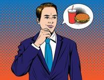 Dirigez l'illustration comique colorée de style d'art de bruit de l'homme d'affaires rêvant de l'hamburger illustration de vecteur