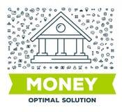 Dirigez l'illustration créative de la grande banque avec l'ensemble de ligne icônes illustration de vecteur
