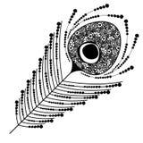 Dirigez l'illustration décorative ornementale noire et blanche de la plume de paon Photos stock