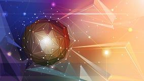 Dirigez l'illustration 3D abstrait géométrique, polygonal, modèle de triangle dans la forme de structure de molécule Photo libre de droits
