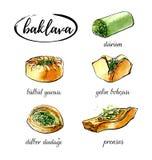 Dirigez l'illustration d'aquarelle avec la baklava turque différente de dessert Photo stock