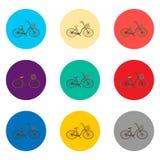 Dirigez l'illustration d'icône pour des symboles réglés que la rétro bicyclette avec se dorent illustration stock