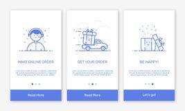 Dirigez l'illustration d'onboarding les écrans d'APP et la ligne plate icônes de Web pour des apps de mobile de commerce électron Photo stock