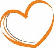 Dirigez l'illustration d'un coeur orange sur un fond blanc illustration libre de droits