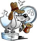 Dirigez l'illustration d'un détective de papier Mascot de chien Photo stock
