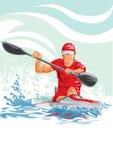 Dirigez l'illustration d'un homme dans un kayak Photo libre de droits