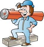Dirigez l'illustration d'un homme heureux de plancher et de tapis Images stock