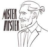 Dirigez l'illustration d'un homme moderne dans un art de bruit, style comique avec Monsieur Hipster de signature Photographie stock