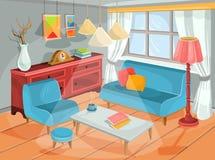 Dirigez l'illustration d'un intérieur confortable de bande dessinée d'une salle à la maison, un salon illustration libre de droits