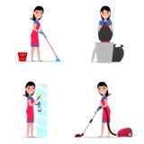 Dirigez l'illustration d'un nettoyage de fille de bande dessinée d'ensemble image libre de droits