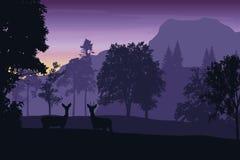 Dirigez l'illustration d'un paysage de montagne avec une forêt Image libre de droits