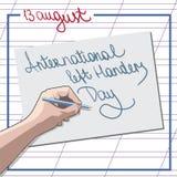 Dirigez l'illustration d'un texte élégant et coloré pour le jour international de gauchers Photographie stock libre de droits