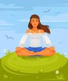 Dirigez l'illustration d'un yoga de fille en position de lotus Image libre de droits