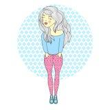 Dirigez l'illustration d'une belle fille de mode dans le pantalon imprimé Femme contemporaine sur le fond blanc Photos stock