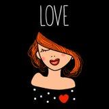 Dirigez l'illustration d'une belle fille rousse de mode dans l'amour Carte tirée par la main avec amour enamouré de femme et de t Photo libre de droits