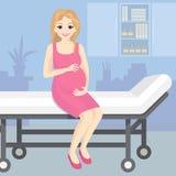 Dirigez l'illustration d'une femme enceinte heureuse s'asseyant sur un chariot à hôpital Jeune belle femme enceinte de sourire de illustration stock