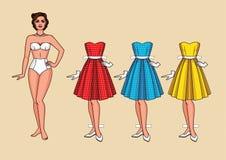 Dirigez l'illustration d'une jeune jolie femme avec les robes habillées élégantes Photos libres de droits
