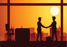 Dirigez l'illustration d'une poignée de main de deux hommes d'affaires, silhouette illustration de vecteur