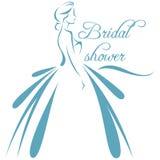Dirigez l'illustration d'une silhouette d'une jeune mariée dans des dres d'un mariage illustration de vecteur
