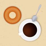 Dirigez l'illustration d'une tasse de café et de butées toriques Vue de ci-avant déjeuner Photographie stock libre de droits