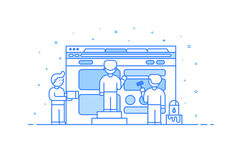 Dirigez l'illustration dans le contour plat et le style linéaire Concept du développement de web design et d'interface utilisateu Photos libres de droits