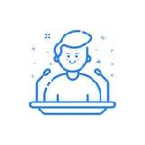 Dirigez l'illustration dans le style linéaire audacieux plat avec le garçon et les icônes bleues Photo libre de droits