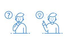 Dirigez l'illustration dans le style linéaire plat et les couleurs bleues - concept de résolution des problèmes Photo libre de droits
